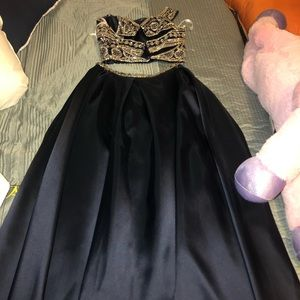 2Piece Navy Blue Prom dress